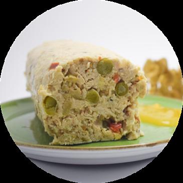 Turrón de pollo con salsa de mango